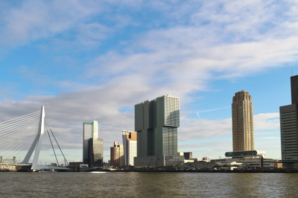 City skyline of Rotterdam, skyscraper The Rotterdam and Erasmus Bridge